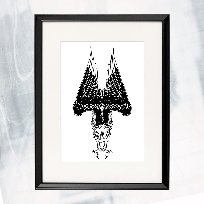 JL02-EX-D- Diving Eagle_framed