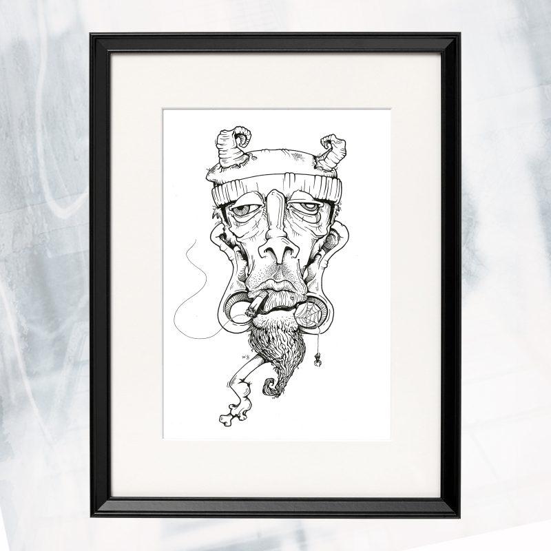 JL02-EX-F- Goat Head_framed